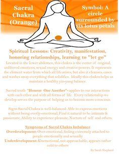 Sacral Chakra: Creativity, manifestation, honoring relationships, learning to let go.
