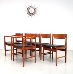 6 X VINTAGE RETRO TEAK MID CENTURY KITCHEN DINING CHAIRS Inc CARVERS 1960s