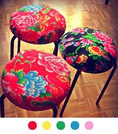 Tabouret- DIY Déco - Décoration - Decoration - Tuto - Tutoriel - Stool - Fabric - Tissu -