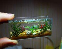 Купить Аквариум 1/12 - комбинированный, миниатюрный дом, кукольный дом, аквариум, аквариумный дизайн, Декор