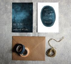 Save the Date Under the stars Outdoor Wedding Navy & by HooplaLove