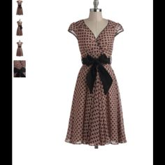 """NWT Modcloth Have The Dance Floor dress size 3x New, never worn or tried on. Modcloth Have The Dance Floor dress in mauve dots.  Size 3X.    Shell: 100% Polyester. Lining: 100% Cotton. Tends to run true to size or small. Fabric does not provide stretch. Machine wash. Fully lined. Semi-sheer. Back zipper with hook and eye closure. Removable sash. Length: 43"""". ModCloth Dresses"""