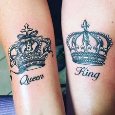30 Magnificent Crown Tattoos You Will Love 8 Couple Tattoos Unique Meaningful, Couple Tattoos Love, Matching Tattoos For Couples, Arm Tattoo, Body Art Tattoos, Sleeve Tattoos, Compass Tattoo, Crown Tattoo On Wrist, Princess Crown Tattoos