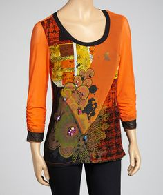 Take a look at this Orange Beaded Sheer-Trim Top - Women by LV Collection on #zulily today! $25 !!