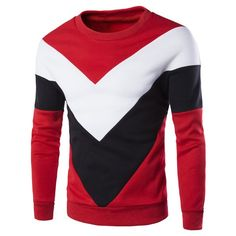 Casual Color Lump Splicing Triangle Pattern Round Neck Long Sleeves Men's Sweatshirt #jewelry, #women, #men, #hats, #watches