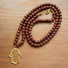 CHRISTMAS SALE !!!  Matte Brown Long Hamsa Necklace Ottoman Jewelry by CharmByIA
