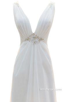 Deep V-neck Beaded Open Back Long Chiffon Wedding Dresses http://www.ikmdresses.com/Deep-V-neck-Beaded-Open-Back-Long-Chiffon-Wedding-Dresses-p88174