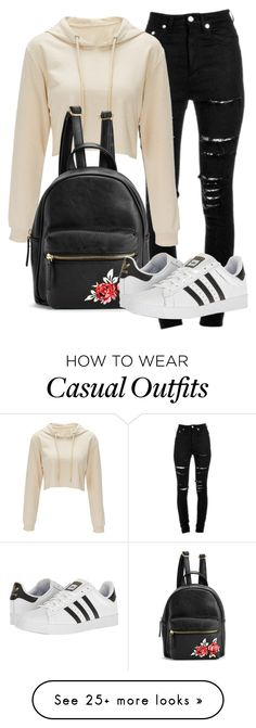 """Casual day out with girls"" by zoethecatinsta on Polyvore featuring Yves Saint Laurent and adidas"