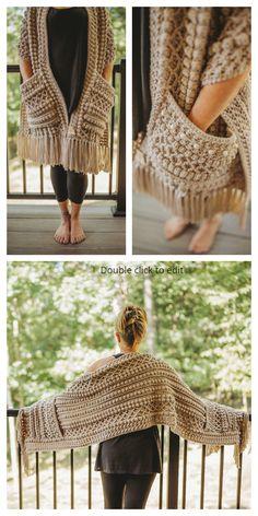 16 Reader's Pocket Wrap Shawl Free Crochet Patterns & Paid - DIY Magazine Pull Crochet, Crochet Wrap Pattern, Mode Crochet, Knit Crochet, Crochet Patterns, Blanket Crochet, Free Crochet Shawl Patterns, Crochet Stitches, Free Pattern
