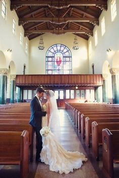 Style Me Pretty | GALLERY  INSPIRATION | Yet another photo idea! Wide shoot of bride  groom in church.