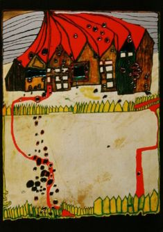 Friedensreich Hundertwasser : House In The Snow Friedensreich Hundertwasser, February 19, Art Original, Oeuvre D'art, Les Oeuvres, Landscape Paintings, Tarot, Textiles, Snow