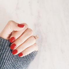 Red Manicure // 3 coats of 'Twin Sweater Set' by Essie via http://instagram.com/gerihirsch