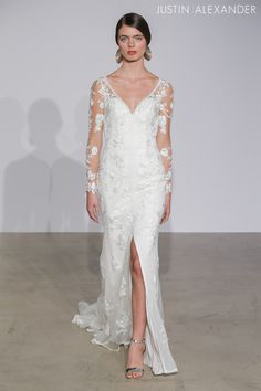 Look 10 | 88008 | V-Neck Lace Wedding Dress with Illusion Long Sleeves