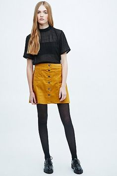 perfect #autumn #colour Cooperative A-Line Cord Skirt - Urban Outfitters #midiskirt #women #covet.me
