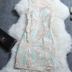 #532 Embroidered Sequined Flower Dress