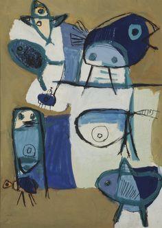 Karel Appel (Netherlands 1921-2006) Figure and birds (1949) gouache on paper 73 x 54 cm