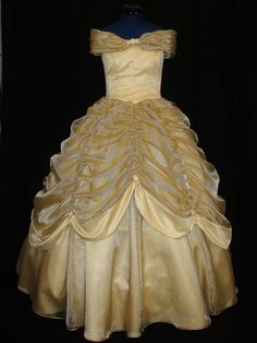 Adult Beauty and the Beast Gold Gown Custom.I want this SOOOOO bad. I have been asking for Belle's Dress since I was a little girl! Beauty And The Beast Wedding Dresses, Belle Wedding Dresses, Belle Beauty And The Beast, Colored Wedding Dresses, Belle Ballgown, Belle Dress, Belle Cosplay, Belle Hairstyle, Gold Gown