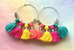Large Colorful 4 Tassel Hoop Earrings - Sterling Silver Wires by MagicalUniverse on Etsy