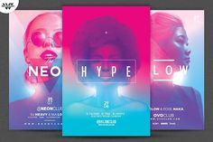 3in1 NEON WOMEN Flyer Bundle by tes on @creativemarket