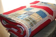 Red Vintage Quilt by TalesofTime on Etsy, $89.00