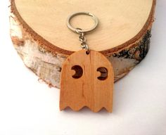 Walnut/Birch Wood Pac-Man Ghost Keychain Gamer's by PongiWorks
