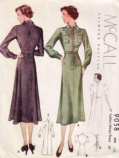 McCall 9058 | 1930s Ladies' & Misses' Dress