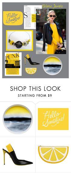 """lemon and black.."" by sandychic on Polyvore featuring moda, Marimekko, Rifle Paper Co, FRIDA, Philippe Model e Monki"