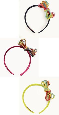 #Diademas con lazos de goma de colores, perfectas para el verano. http://www.cuini.com/es/tienda #niños #complementos