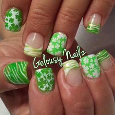 St Patricks day nail design zebra clover