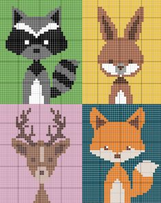 Ravelry: Katharakete's animals of the forest baby blanket - woodland animals blank . - Belén Ortiz Capisano - - Ravelry: Katharakete's animals of the forest baby blanket - woodland animals blank . Knitting Charts, Baby Knitting, Knitting Patterns, Knitted Baby, Crochet Patterns, Crochet Wall Hangings, Tapestry Crochet, C2c Crochet, Crochet Chart