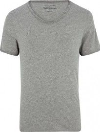 53b6817e5 River Island Grey Marl Low Scoop Neck T-shirt