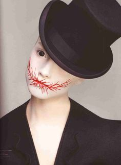 Simple, creepy costume (white & red paint, black contact lenses and a top hat) #sfx #halloween #makeup