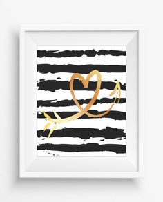 Heart with Golden Texture,arrow art print,digital prints,home decor,instant download,black white gold
