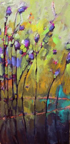 Jill Van Sickle:mixed media paintings begin with a layer of acrylic paint, then with water soluble oils, and lastly use oil pastels. The work is then sealed with varnish. Occasionally I will add paper, metal or wood. All are done on canvas. Crackle Painting, Painting Art, Photo D Art, Paintings I Love, Canvas Paintings, Tree Paintings, Beginner Painting, Arte Floral, Mixed Media Canvas
