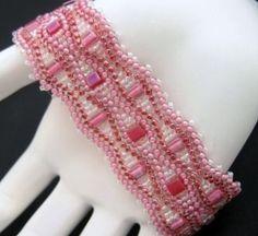 Pink Cube and Seed Bead Beadwoven Bracelet Cuff | 1BeadAtATime - Jewelry on ArtFire