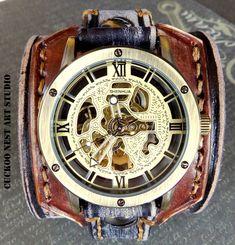 Men's Watch Manschette Steampunk Leather Watch Manschette