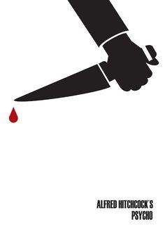 Psycho by Måsse Hjeltman, minimal movie poster