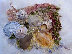 Experimental piece on organza using snippets of fabric, shells, beads, hand/machine embroidery. Embroidery 3d, Machine Embroidery, Sewing Stitches, Textile Fabrics, Shells, Beads, Knitting, Journals, Stitching