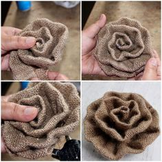 No-Sew DIY Burlap Roses - Six Clever SistersNO-SEW DIY Burlap Roses - step-by-step photo instructions and video tutorial! Make these rustic DIY burlap roses in just one minute! burlap crafts diy easycraft No-Sew DIY Burlap Burlap Rosettes, Burlap Lace, Burlap Flowers, Burlap Bows, Lace Flowers, Wreath Burlap, Burlap Curtains, Wedding Burlap, Fabric Rosette