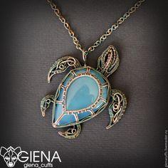 "Купить Кулон ""Синяя черепаха"" - кулон, Кулон ручной работы, кулон с камнем, подарок #wirejewelry"