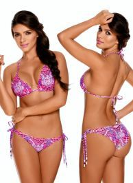Pink Seamless Reversible Latin Triangle Bikini Swimwear