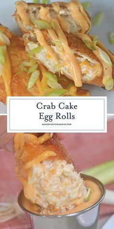 Crab Egg Roll Recipe, Egg Roll Sauce, Egg Roll Recipes, Crab Recipes, Spicy Shrimp Roll Recipe, Drink Recipes, Asian Recipes, Crab Stuffed Shrimp, Breakfast