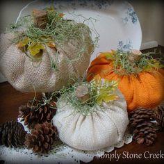 Super Easy Burlap Pumpkins