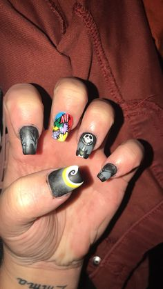 Halloween nails, nightmare before Christmas hand painted