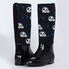Cuce Shoes Carolina Panthers Womens Enthusiast II Rain Boots - Black