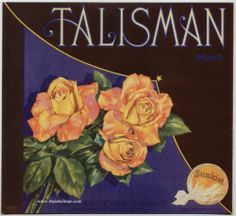TALISMAN Vintage Redlands Orange Crate Label Rose, Lucky Charm AN ORIGINAL LABEL | eBay