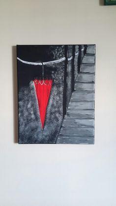 Red umbrella Red Umbrella, Flag, Canvas Paintings, Art, Paintings On Canvas, Art Background, Painted Canvas, Kunst, Flags