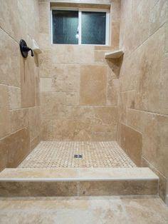 BuildDirect – Travertine Tile - Antique Pattern – Denizli Beige Standard - Bathroom View