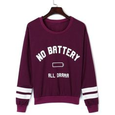 Burgundy Letter Pattern Long Sleeve Sweatshirt ($34) ❤ liked on Polyvore featuring tops, hoodies, sweatshirts, purple long sleeve top, print top, cotton sweatshirt, burgundy top and purple top