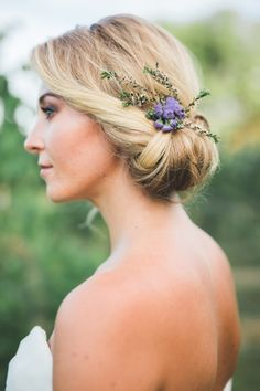 low bridal updo with pretty purple floral hairpiece ~ we ❤ this! moncheribridals.com